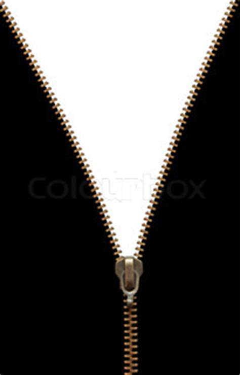 brass zipper  black  white background isolated