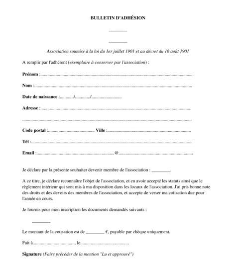 bulletin d adh 233 sion et re 231 u pour une association