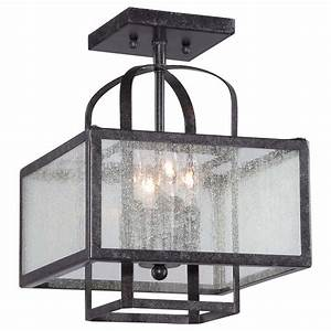 Minka lavery camden square 4 light aged charcoal semi for Square semi flush mount lighting