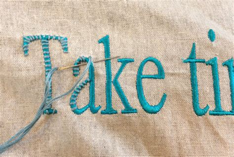 Blue Linen Sofa by Pillow Lettering Cheater Embroidery Cathe Holden S