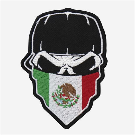 Skull with Cap and Mexican Flag Bandanna embroidered Patch