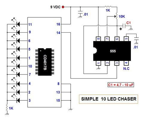 led light chaser circuit diagram simple 10 led chaser circuit diagram electronic circuits
