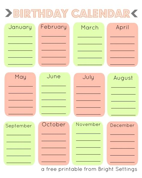 fillable birthday calendars  calendar template
