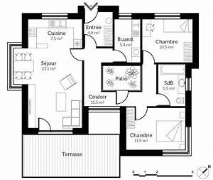 plan maison a toit plat avec patio ooreka With plan maison avec patio 0 plan maison carree avec piscine ooreka