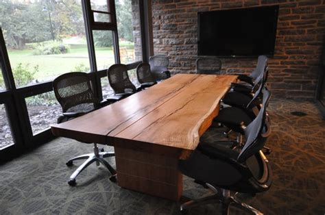 rustic conference room for the love of live edge slabs