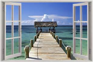 huge 3d window view exotic beach wall sticker film mural