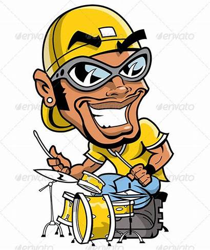 Cartoon Hop Hip Drummer Clipart Graffiti Characters