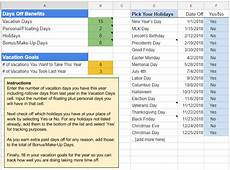 Vacation Days Tracker Google Spreadsheet Template