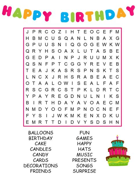printable birthday word search activity shelter