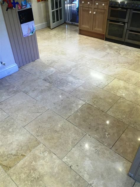 renovating cracked and dirty travertine kitchen floor in