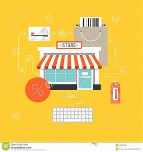 Online Outlet : online shopping flat illustration concept stock vector ~ Pilothousefishingboats.com Haus und Dekorationen