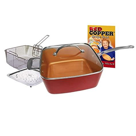 bulbhead  red copper square pan  piece set  bulbhead   pan glass lid fry basket