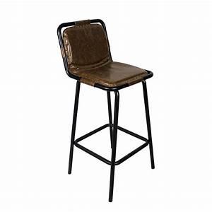 Chaise Industrielle Cuir : chaise haute de bar style industrielle assise dossier aspect cuir couleur marron cbr 429 one ~ Teatrodelosmanantiales.com Idées de Décoration