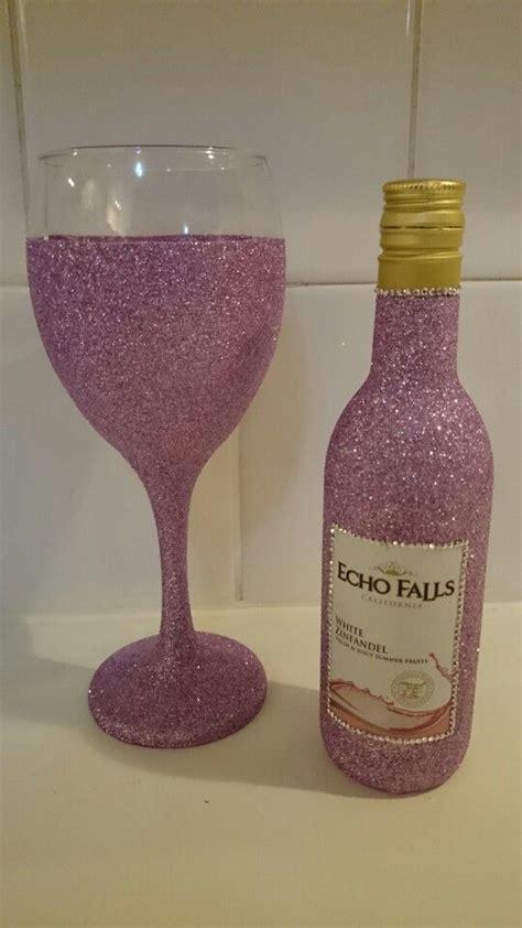 dusky pink glitter mini wine bottle gift set