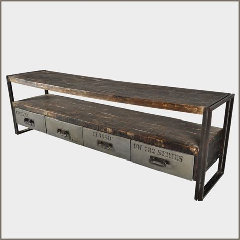 metal console table with drawers industrial iron reclaimed wood rustic drawer hall entry