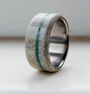 Antler and turquoise mens wedding band titanium by for Mens turquoise wedding rings