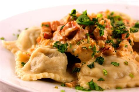 pasta ravioli fillings mushroom ravioli with pancetta and parmesan sauce onmyplate co uk