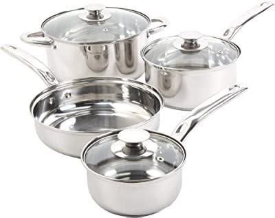 amazoncom maitre chef stainless steel professional  piece cookware set kitchen dining