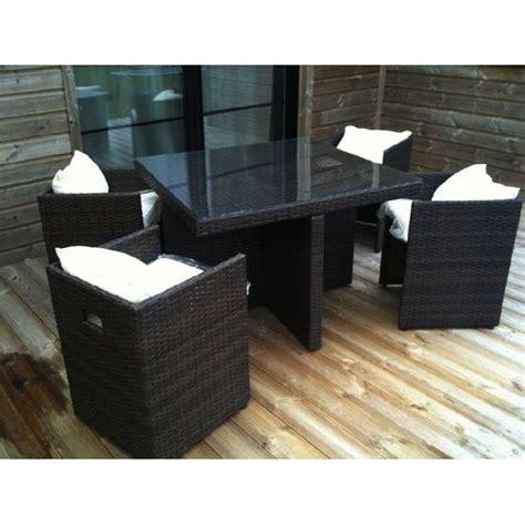 salon de jardin tresse leclerc salon de jardin table r 233 sine tress 233 e avec 4 fauteuils encastrables noir dcb garden tous les