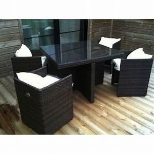 Table De Jardin Tressé : salon de jardin table r sine tress e avec 4 fauteuils ~ Dailycaller-alerts.com Idées de Décoration