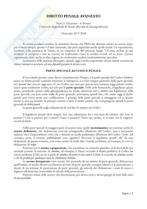 Dispensa Diritto Penale by Diritto Penale Avanzato Appunti Prof Fornasari