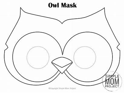 Mask Owl Printable Templates Coloring Simple Template