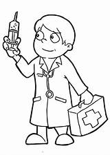 Doctor Coloring Sheets Doctors Clipart Preschool Clip Colouring Needle Holding Popular Whitesbelfast Coloringsun sketch template