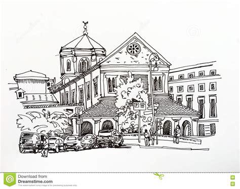 desenho de esboco preto  branco da arquitetura da cidade