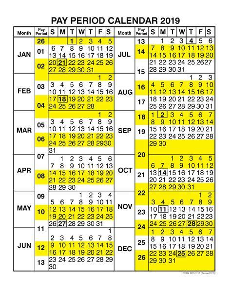 pay period calendar   calendar year