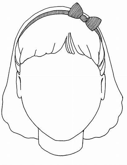 Blank Face Head Coloring Clipart Worksheet Boy