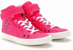 Pierre Hardy Neon High Top Sneakers in Pink