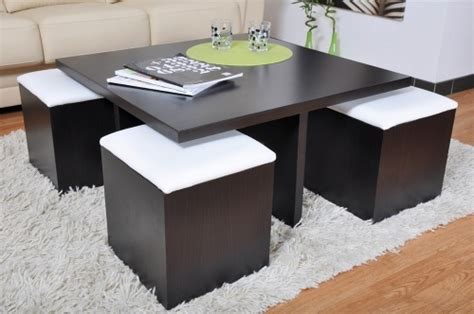 table basse carr 233 weng 233 et 4 poufs decoration