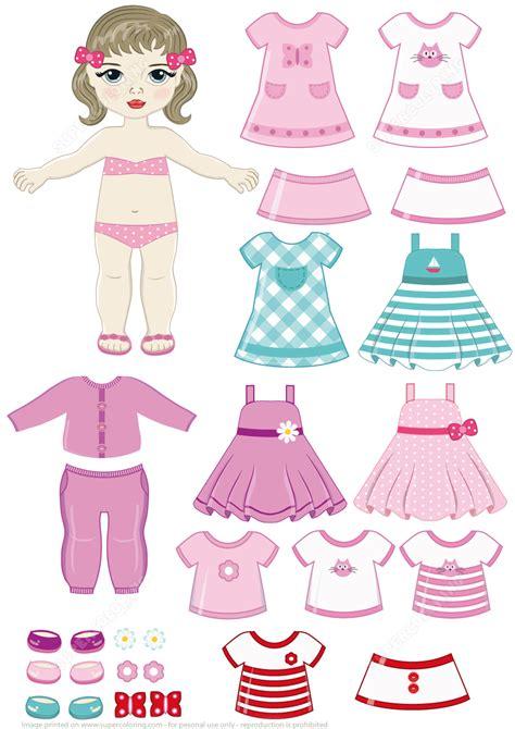 brunette girl paper doll  clothing set