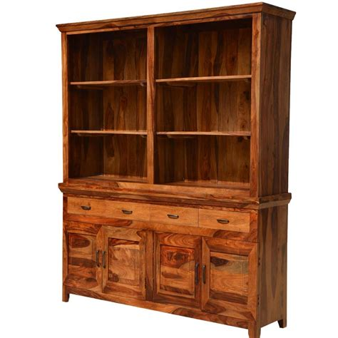Solid Wood Hutch - modern country breakfront solid wood dining hutch