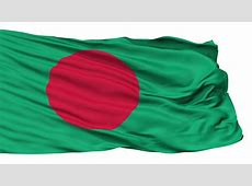Waving Flag Of Bangladesh With A Red Disc Symbolising The