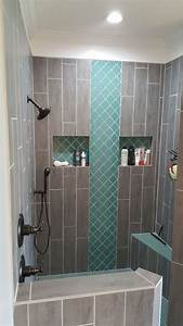 Teal Arabesque Tile Accent, Teal Shower Floor, Grey wood