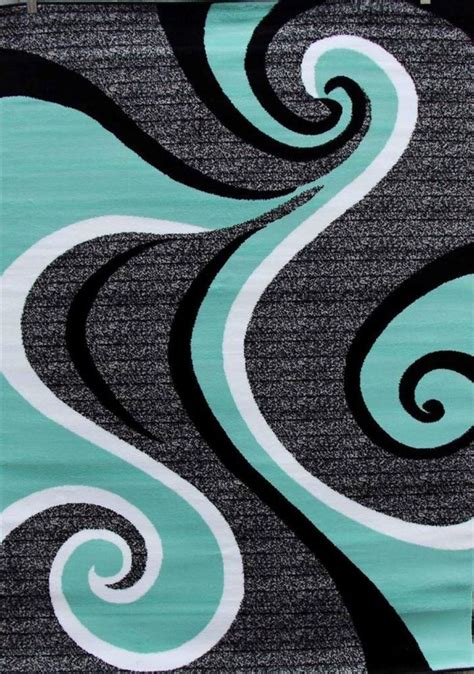 turquoise swirls  area rug modern contemporary abstract