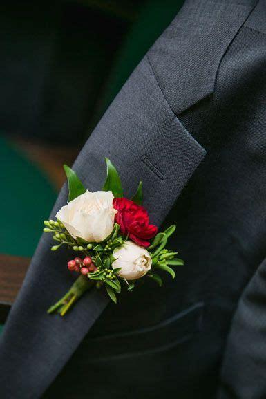 winter wedding groom boutonniere  blush majolica spray