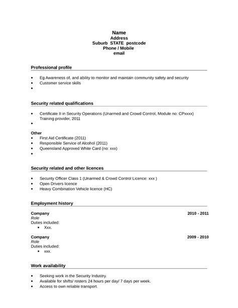 Unarmed Security Guard Resume by Security Objectives For Resume Security Officer Resume Template Security Supervisor Seeking