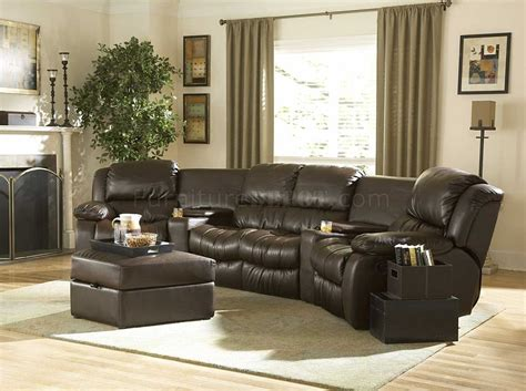 Home Sectional Sofa by Brown Bonded Leather Home Theater Recliner Sectional Sofa