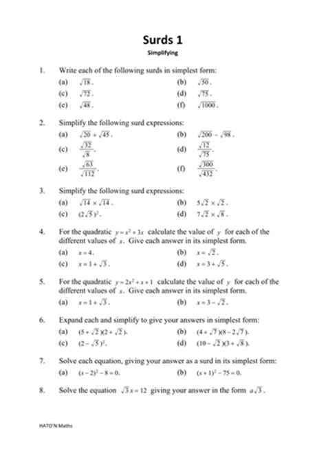 secondary number teaching resources surds tes