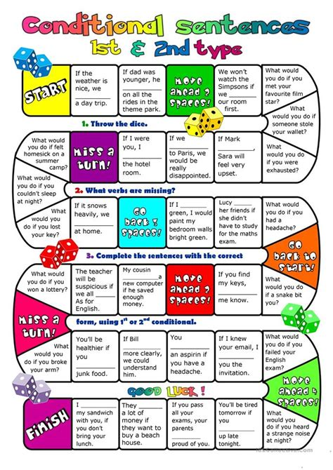 conditional sentences type  boardgame worksheet