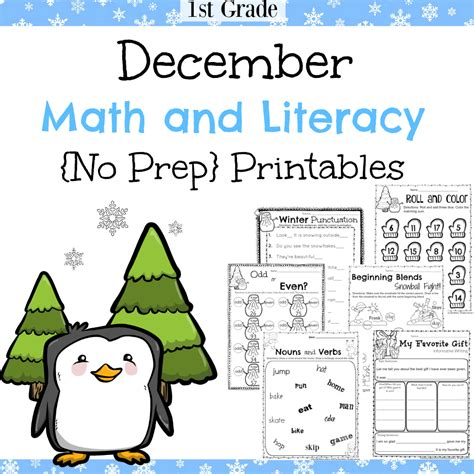 1st grade december math and literacy worksheets planning
