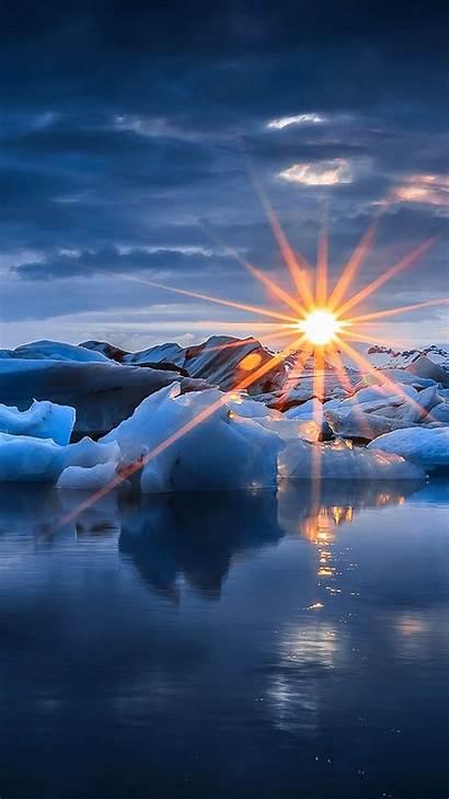 Iphone Wallpapers Sunset Iceberg Snow S8 Pretty