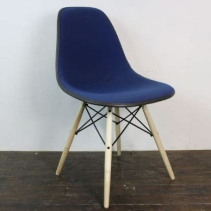 eames herman miller side chair upholstered in blue fabric