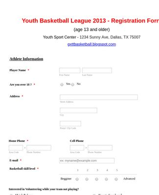 sports forms form templates jotform