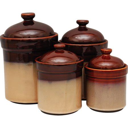 Brown Canister Sets Kitchen by Sango 4 Canister Set Brown Walmart