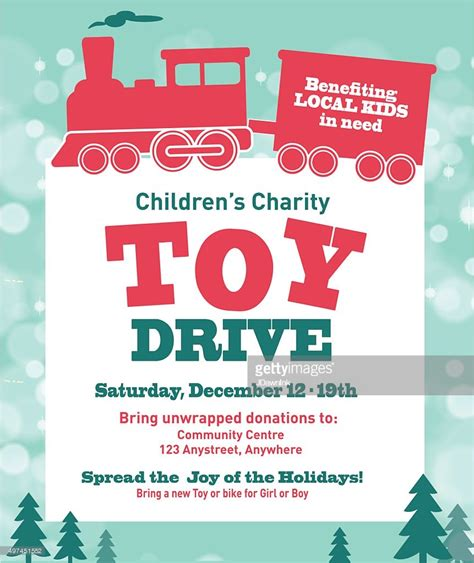 christmas charity template poster holiday charity toy drive fundraiser poster design retro