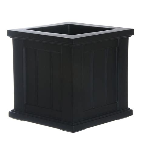 black plastic planters mayne cape cod 14 in square black plastic planter 4836 b