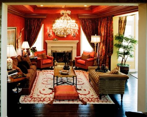 luxurious red fabrics living space interiors  color